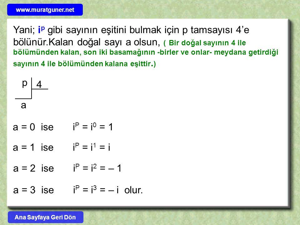 ÖRNEK ÇÖZÜM ( 2 – i ) 6.( 2 + i ) 8.( 3 – 4i ) = .