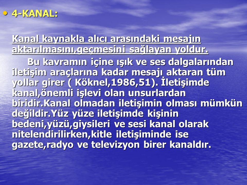 • 4-KANAL: Kanal kaynakla alıcı arasındaki mesajın aktarılmasını,geçmesini sağlayan yoldur. Bu kavramın içine ışık ve ses dalgalarından iletişim araçl