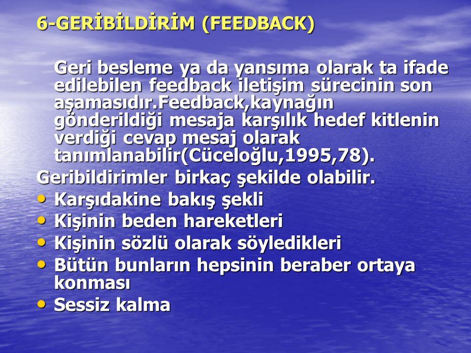 6-GERİBİLDİRİM (FEEDBACK) Geri besleme ya da yansıma olarak ta ifade edilebilen feedback iletişim sürecinin son aşamasıdır.Feedback,kaynağın gönderild