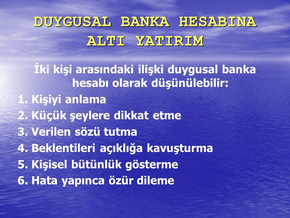 DUYGUSAL BANKA HESABINA ALTI YATIRIM İki kişi arasındaki ilişki duygusal banka hesabı olarak düşünülebilir: 1. Kişiyi anlama 2. Küçük şeylere dikkat e