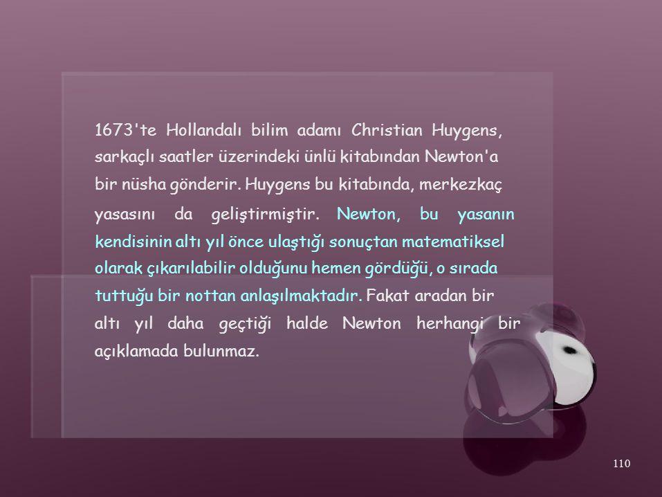 1673'te Hollandalı bilim adamı Christian Huygens, sarkaçlı saatler üzerindeki ünlü kitabından Newton'a bir nüsha gönderir. Huygens bu kitabında, merke