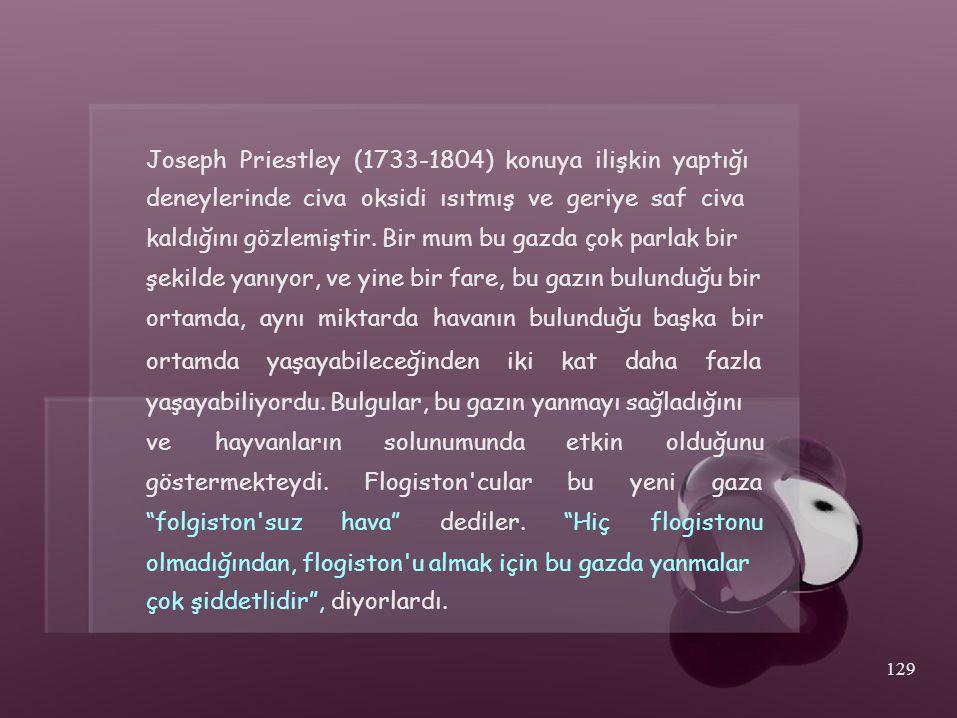 Joseph Priestley (1733-1804) konuya ilişkin yaptığı deneylerinde civa oksidi ısıtmış ve geriye saf civa kaldığını gözlemiştir. Bir mum bu gazda çok pa