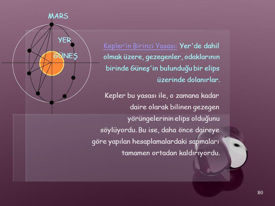 MARS YER GÜNEŞ Kepler'in Birinci Yasası: Yer'de dahil olmak üzere, gezegenler, odaklarının birinde Güneş'in bulunduğu bir elips üzerinde dolanırlar. K