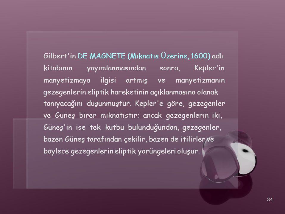 Gilbert'in DE MAGNETE (Mıknatıs Üzerine, 1600) adlı kitabınınyayımlanmasındansonra,Kepler'in manyetizmayailgisiartmışvemanyetizmanın gezegenlerin elip