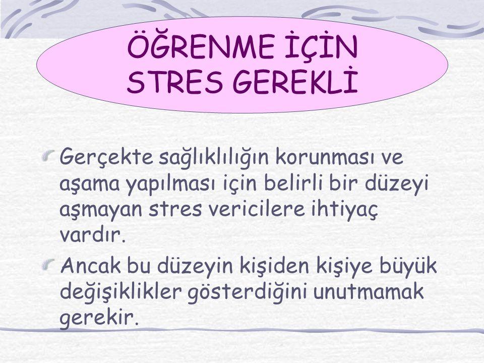 Gerçekte sağlıklılığın korunması ve aşama yapılması için belirli bir düzeyi aşmayan stres vericilere ihtiyaç vardır. Ancak bu düzeyin kişiden kişiye b