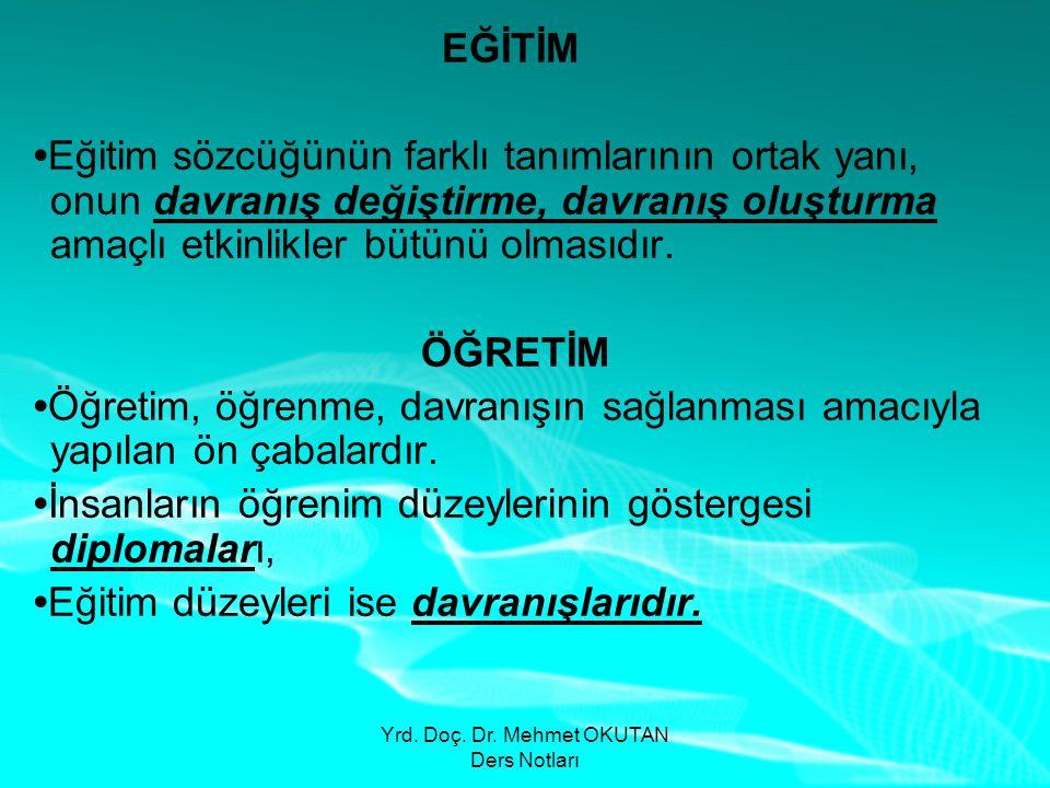 Yrd. Doç. Dr. Mehmet OKUTAN Ders Notları EĞİTİM •Eğitim sözcüğünün farklı tanımlarının ortak yanı, onun davranış değiştirme, davranış oluşturma amaçlı