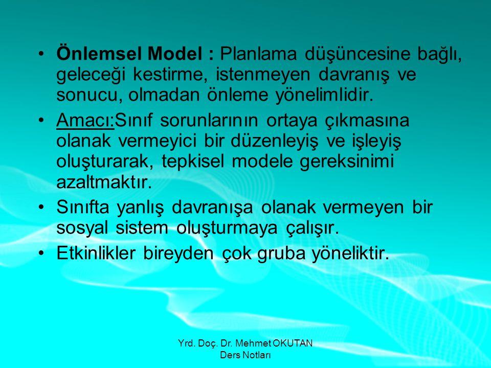 Yrd. Doç. Dr. Mehmet OKUTAN Ders Notları •Önlemsel Model : Planlama düşüncesine bağlı, geleceği kestirme, istenmeyen davranış ve sonucu, olmadan önlem