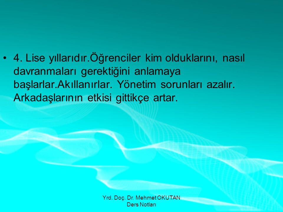 Yrd. Doç. Dr. Mehmet OKUTAN Ders Notları •4. Lise yıllarıdır.Öğrenciler kim olduklarını, nasıl davranmaları gerektiğini anlamaya başlarlar.Akıllanırla