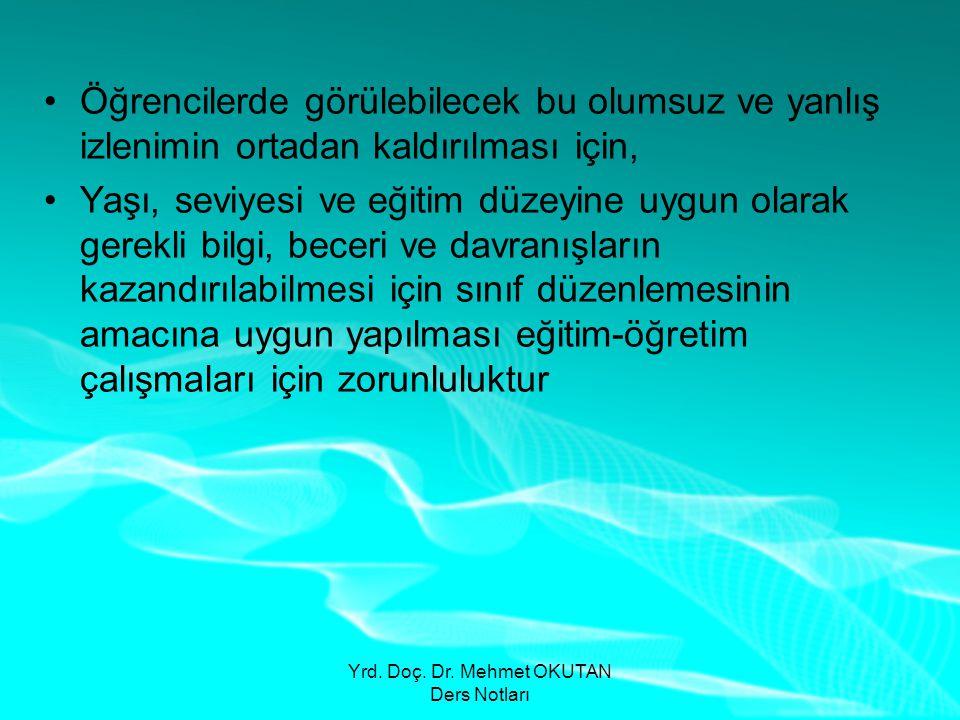Yrd. Doç. Dr. Mehmet OKUTAN Ders Notları •Öğrencilerde görülebilecek bu olumsuz ve yanlış izlenimin ortadan kaldırılması için, •Yaşı, seviyesi ve eğit