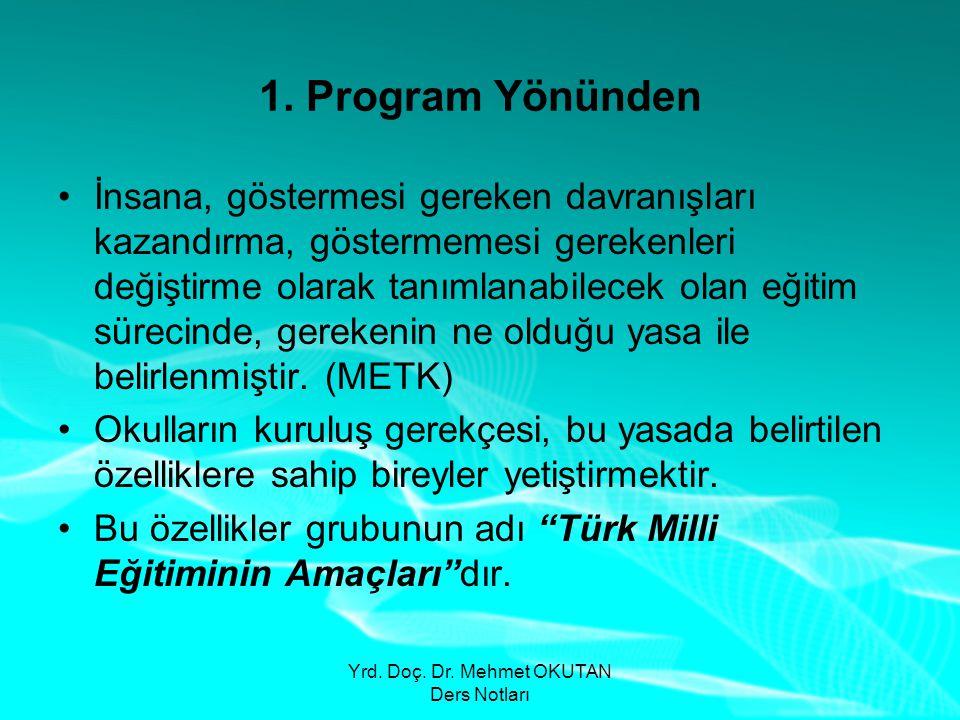 Yrd. Doç. Dr. Mehmet OKUTAN Ders Notları 1. Program Yönünden •İnsana, göstermesi gereken davranışları kazandırma, göstermemesi gerekenleri değiştirme