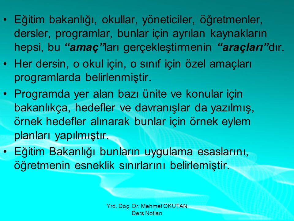 Yrd. Doç. Dr. Mehmet OKUTAN Ders Notları •Eğitim bakanlığı, okullar, yöneticiler, öğretmenler, dersler, programlar, bunlar için ayrılan kaynakların he
