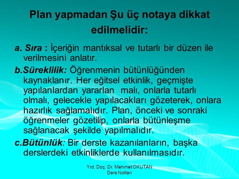 Yrd. Doç. Dr. Mehmet OKUTAN Ders Notları Plan yapmadan Şu üç notaya dikkat edilmelidir: a. Sıra : İçeriğin mantıksal ve tutarlı bir düzen ile verilmes