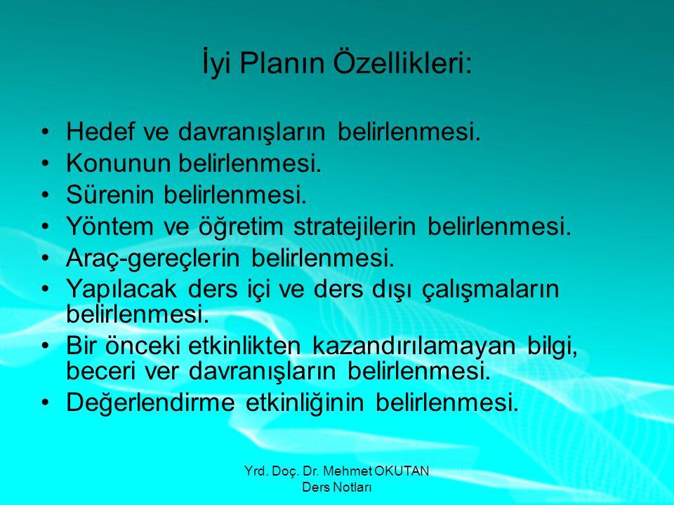 Yrd. Doç. Dr. Mehmet OKUTAN Ders Notları İyi Planın Özellikleri: •Hedef ve davranışların belirlenmesi. •Konunun belirlenmesi. •Sürenin belirlenmesi. •
