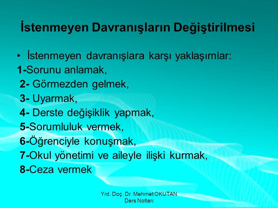Yrd. Doç. Dr. Mehmet OKUTAN Ders Notları İstenmeyen Davranışların Değiştirilmesi •İstenmeyen davranışlara karşı yaklaşımlar: 1-Sorunu anlamak, 2- Görm