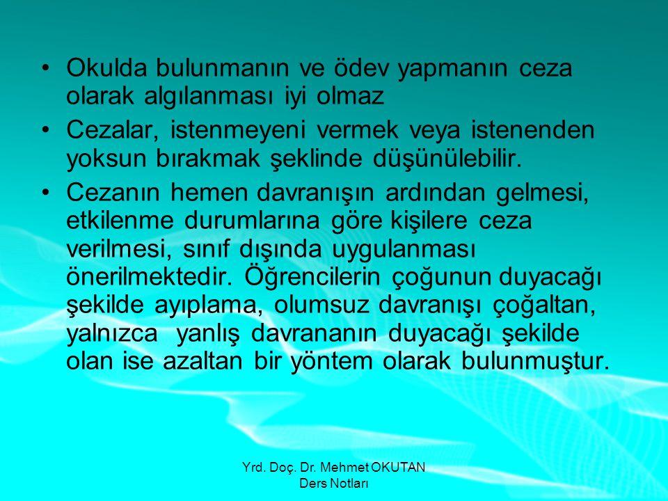 Yrd. Doç. Dr. Mehmet OKUTAN Ders Notları •Okulda bulunmanın ve ödev yapmanın ceza olarak algılanması iyi olmaz •Cezalar, istenmeyeni vermek veya isten