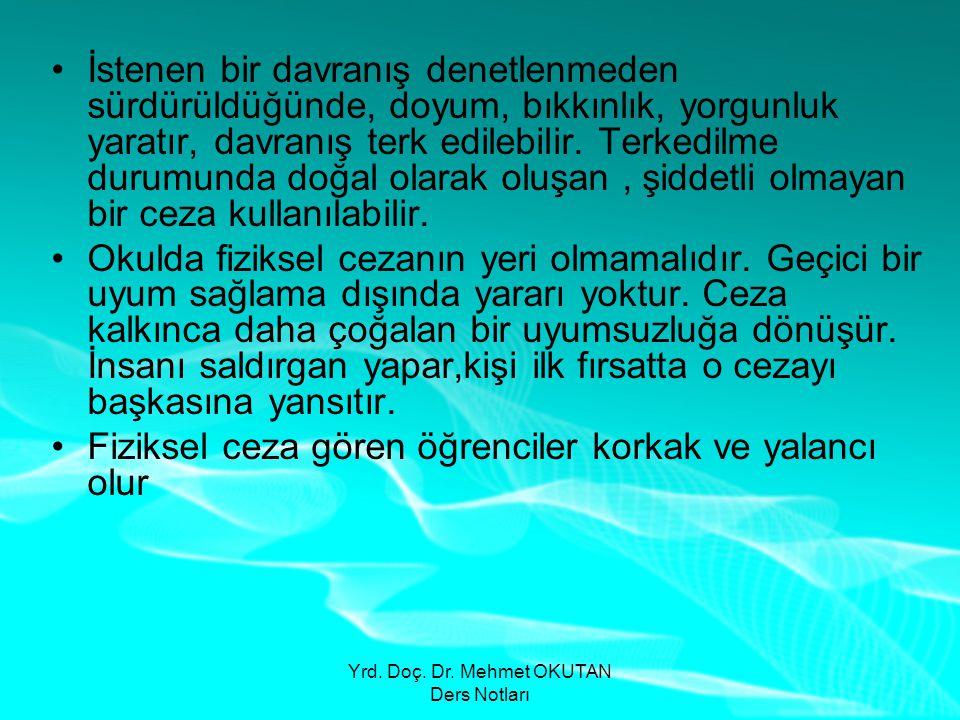 Yrd. Doç. Dr. Mehmet OKUTAN Ders Notları •İstenen bir davranış denetlenmeden sürdürüldüğünde, doyum, bıkkınlık, yorgunluk yaratır, davranış terk edile