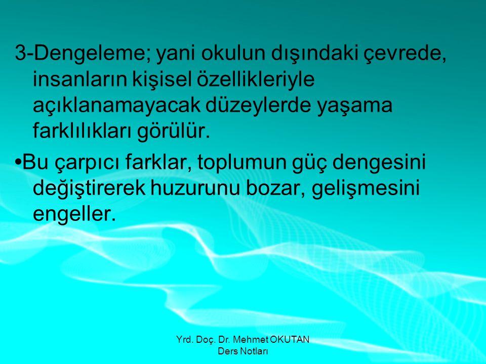 Yrd. Doç. Dr. Mehmet OKUTAN Ders Notları 3-Dengeleme; yani okulun dışındaki çevrede, insanların kişisel özellikleriyle açıklanamayacak düzeylerde yaşa