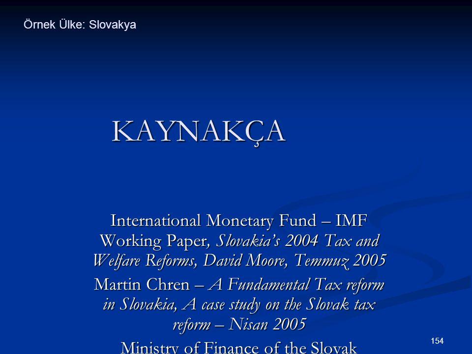 154 KAYNAKÇA International Monetary Fund – IMF Working Paper, Slovakia's 2004 Tax and Welfare Reforms, David Moore, Temmuz 2005 Martin Chren – A Funda
