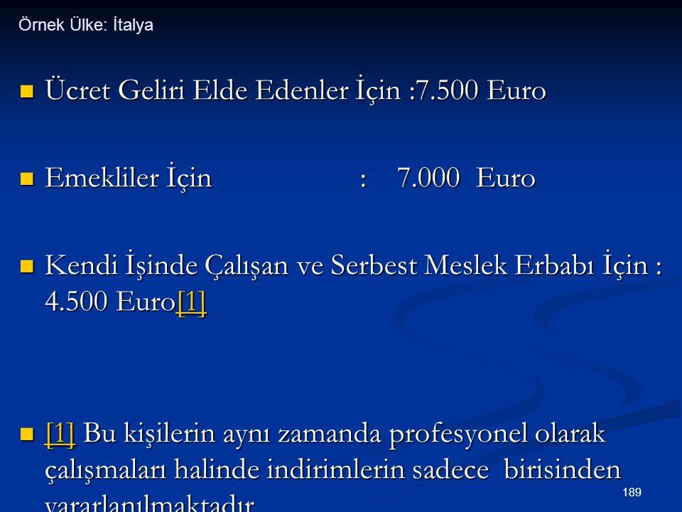 189  Ücret Geliri Elde Edenler İçin :7.500 Euro  Emekliler İçin : 7.000 Euro  Kendi İşinde Çalışan ve Serbest Meslek Erbabı İçin : 4.500 Euro[1] [1