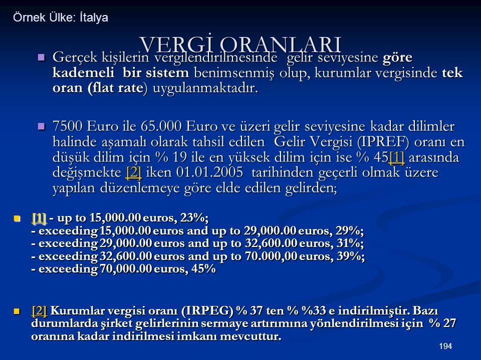 194 VERGİ ORANLARI  Gerçek kişilerin vergilendirilmesinde gelir seviyesine göre kademeli bir sistem benimsenmiş olup, kurumlar vergisinde tek oran (f
