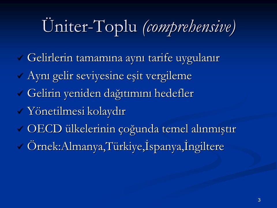 3 Üniter-Toplu (comprehensive)  Gelirlerin tamamına aynı tarife uygulanır  Aynı gelir seviyesine eşit vergileme  Gelirin yeniden dağıtımını hedefle