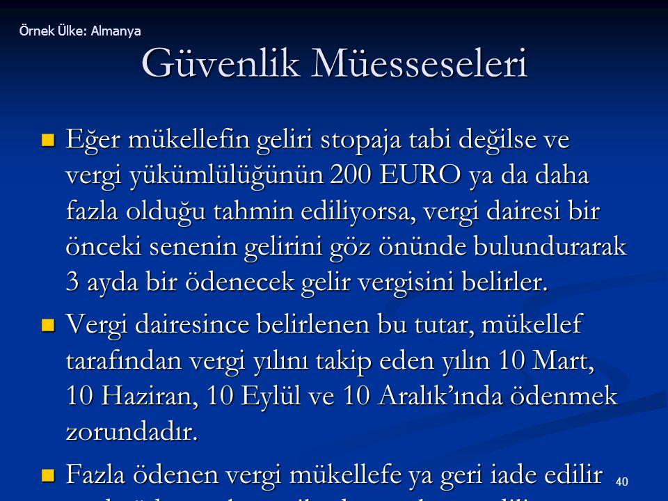 40 Güvenlik Müesseseleri  Eğer mükellefin geliri stopaja tabi değilse ve vergi yükümlülüğünün 200 EURO ya da daha fazla olduğu tahmin ediliyorsa, ver
