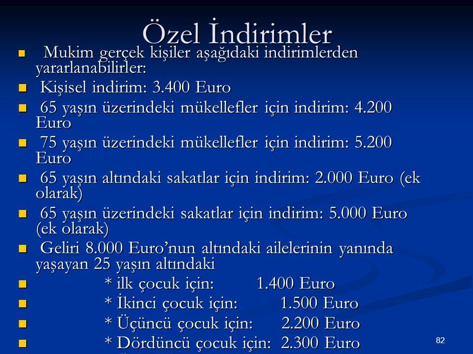 82 Özel İndirimler  Mukim gerçek kişiler aşağıdaki indirimlerden yararlanabilirler:  Kişisel indirim: 3.400 Euro  65 yaşın üzerindeki mükellefler i