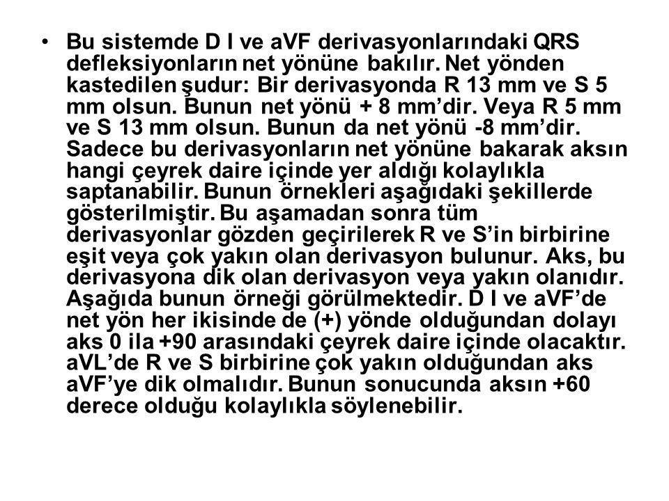 •Bu sistemde D I ve aVF derivasyonlarındaki QRS defleksiyonların net yönüne bakılır. Net yönden kastedilen şudur: Bir derivasyonda R 13 mm ve S 5 mm o