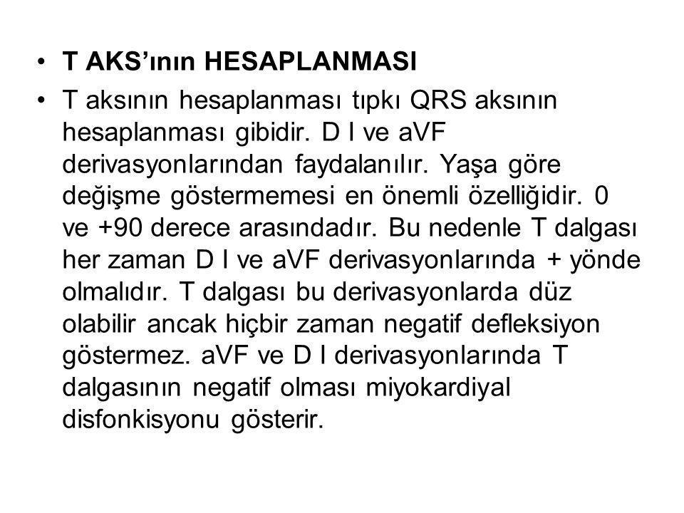•T AKS'ının HESAPLANMASI •T aksının hesaplanması tıpkı QRS aksının hesaplanması gibidir. D I ve aVF derivasyonlarından faydalanılır. Yaşa göre değişme