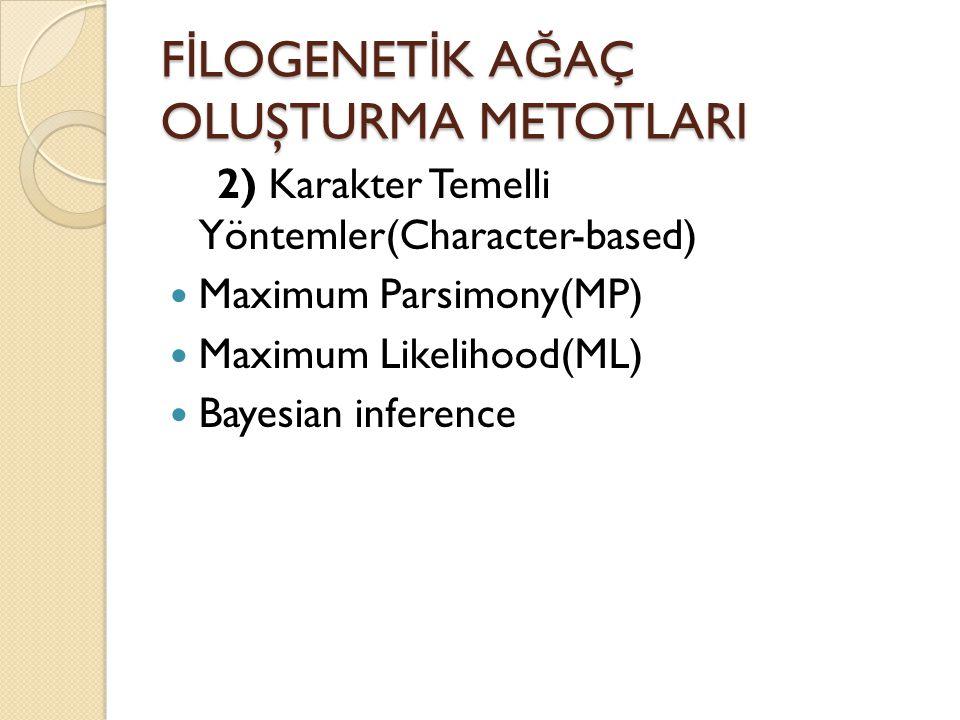 MAKS İ MUM PARSIMONY METODU  Dezavantajı:  Yüksek seviye homoplasilerde yanılabilirler.