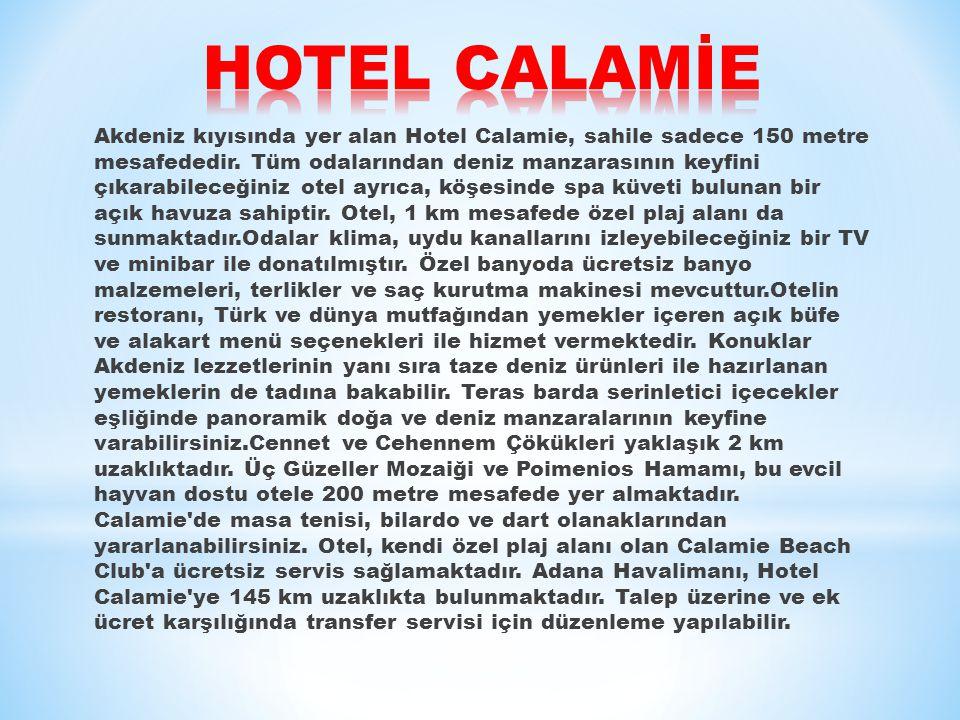 Akdeniz kıyısında yer alan Hotel Calamie, sahile sadece 150 metre mesafededir.
