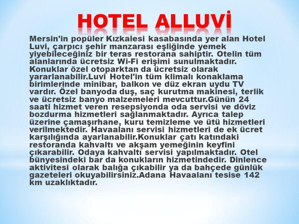 Mersin in popüler Kızkalesi kasabasında yer alan Hotel Luvi, çarpıcı şehir manzarası eşliğinde yemek yiyebileceğiniz bir teras restorana sahiptir.
