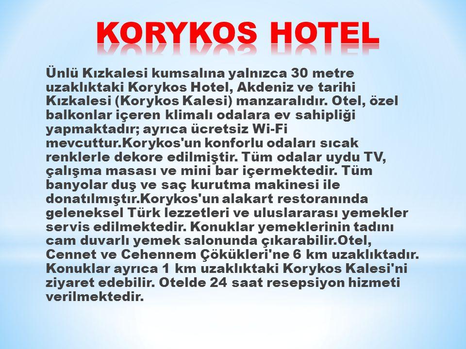 Ünlü Kızkalesi kumsalına yalnızca 30 metre uzaklıktaki Korykos Hotel, Akdeniz ve tarihi Kızkalesi (Korykos Kalesi) manzaralıdır.