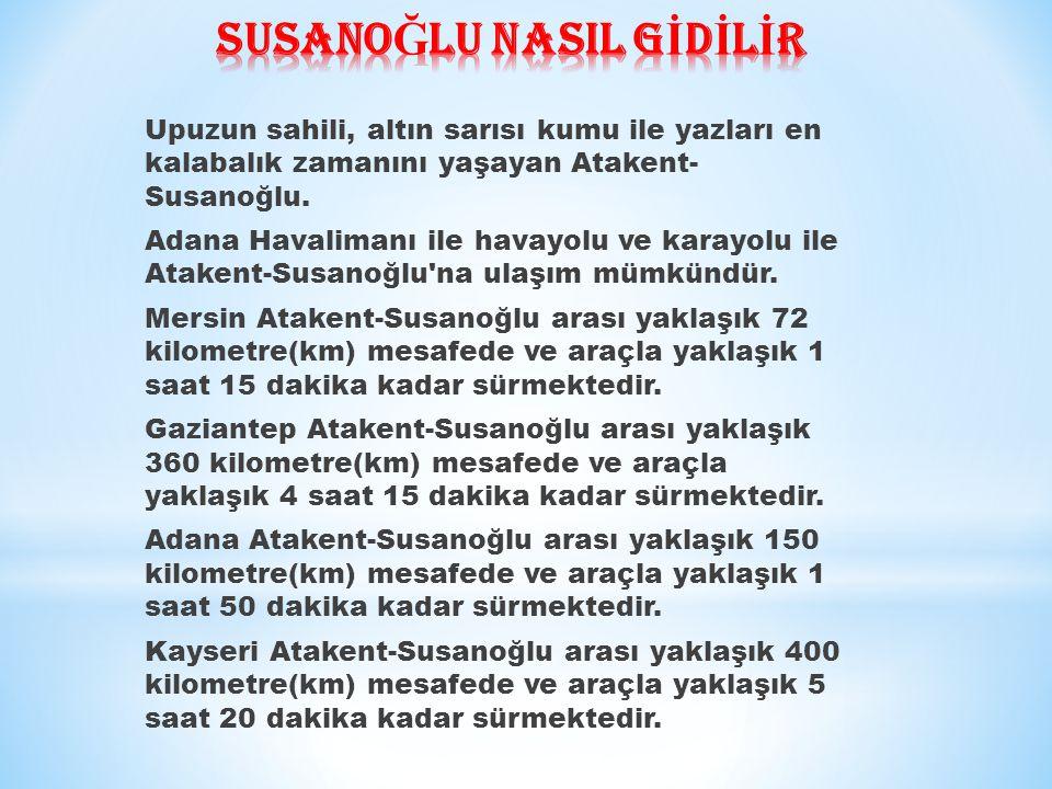 Şanlıurfa Atakent-Susanoğlu arası yaklaşık 500 kilometre(km) mesafede ve araçla yaklaşık 5 saat 45 dakika kadar sürmektedir.