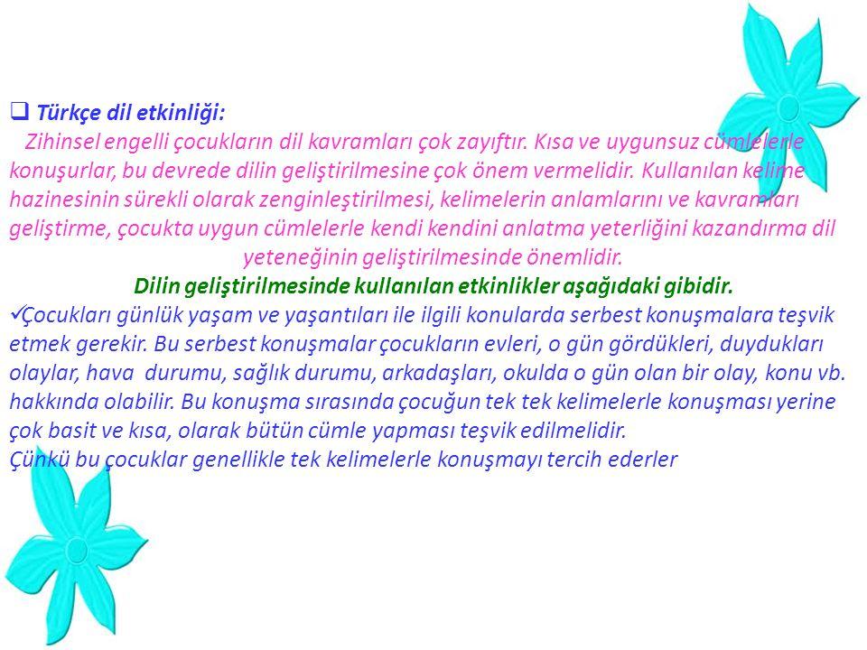  Türkçe dil etkinliği: Zihinsel engelli çocukların dil kavramları çok zayıftır. Kısa ve uygunsuz cümlelerle konuşurlar, bu devrede dilin geliştirilme