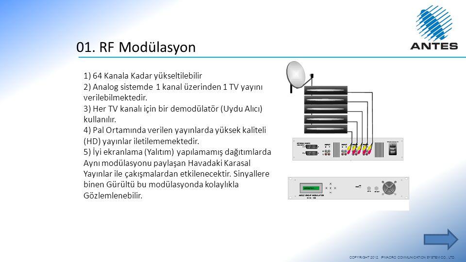 01. RF Modülasyon 1) 64 Kanala Kadar yükseltilebilir 2) Analog sistemde 1 kanal üzerinden 1 TV yayını verilebilmektedir. 3) Her TV kanalı için bir dem