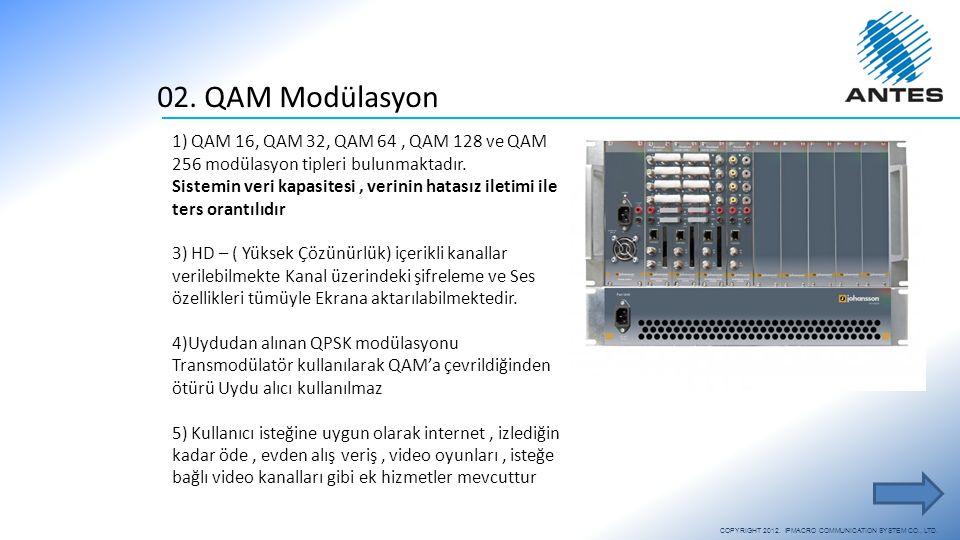 02. QAM Modülasyon 1) QAM 16, QAM 32, QAM 64, QAM 128 ve QAM 256 modülasyon tipleri bulunmaktadır. Sistemin veri kapasitesi, verinin hatasız iletimi i