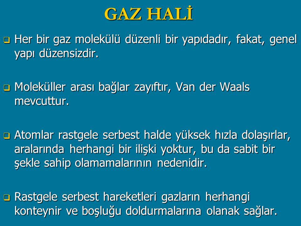 GAZ HALİ  Her bir gaz molekülü düzenli bir yapıdadır, fakat, genel yapı düzensizdir.  Moleküller arası bağlar zayıftır, Van der Waals mevcuttur.  A