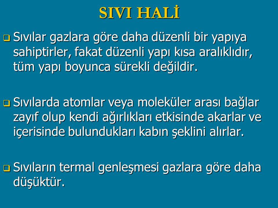 SIVI HALİ  Sıvılar gazlara göre daha düzenli bir yapıya sahiptirler, fakat düzenli yapı kısa aralıklıdır, tüm yapı boyunca sürekli değildir.  Sıvıla