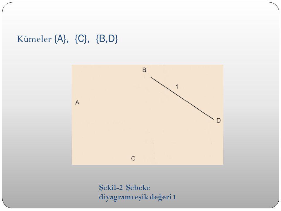 Kümeler {A}, {C}, {B,D} Ş ekil-2 Ş ebeke diyagramı e ş ik de ğ eri 1