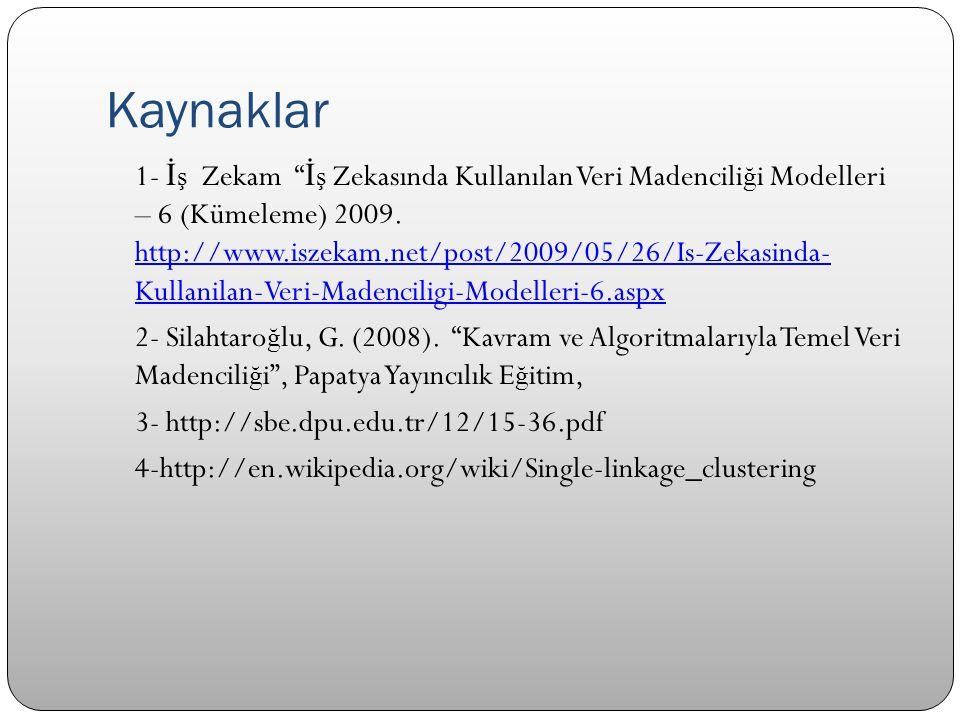 """Kaynaklar 1- İ ş Zekam """" İ ş Zekasında Kullanılan Veri Madencili ğ i Modelleri – 6 (Kümeleme) 2009. http://www.iszekam.net/post/2009/05/26/Is-Zekasind"""