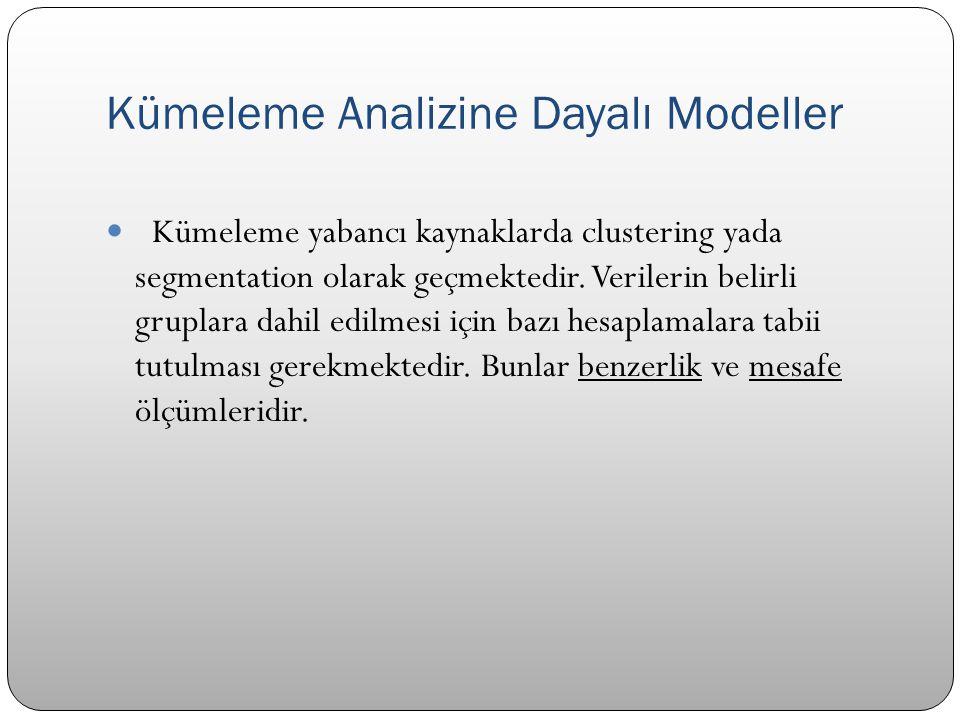 Kümeleme Analizine Dayalı Modeller  Kümeleme yabancı kaynaklarda clustering yada segmentation olarak geçmektedir. Verilerin belirli gruplara dahil ed