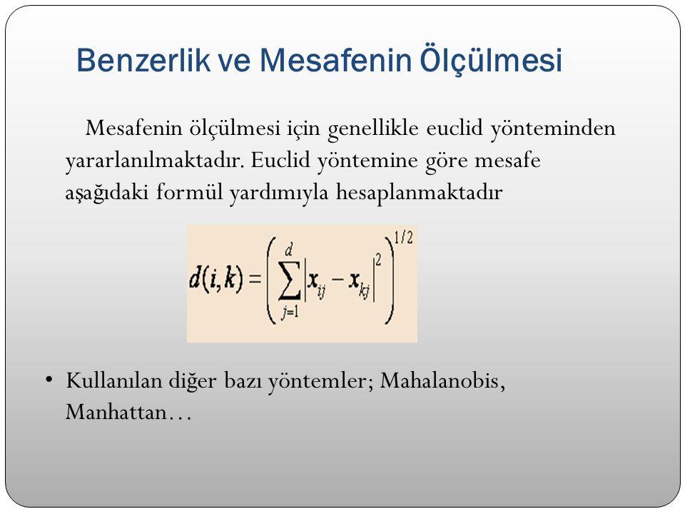 Benzerlik ve Mesafenin Ölçülmesi Mesafenin ölçülmesi için genellikle euclid yönteminden yararlanılmaktadır. Euclid yöntemine göre mesafe a ş a ğ ıdaki