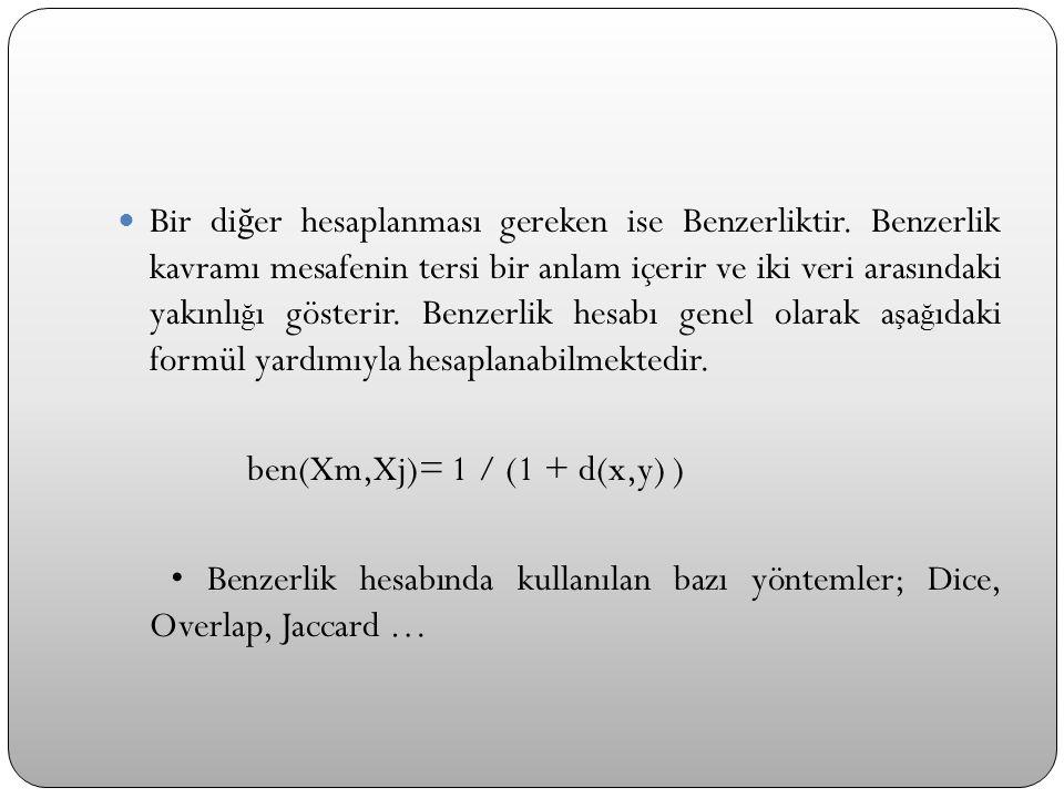  Bir di ğ er hesaplanması gereken ise Benzerliktir. Benzerlik kavramı mesafenin tersi bir anlam içerir ve iki veri arasındaki yakınlı ğ ı gösterir. B