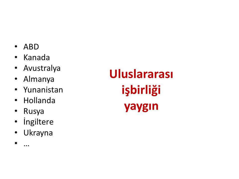 Uluslararası işbirliği yaygın • ABD • Kanada • Avustralya • Almanya • Yunanistan • Hollanda • Rusya • İngiltere • Ukrayna • …