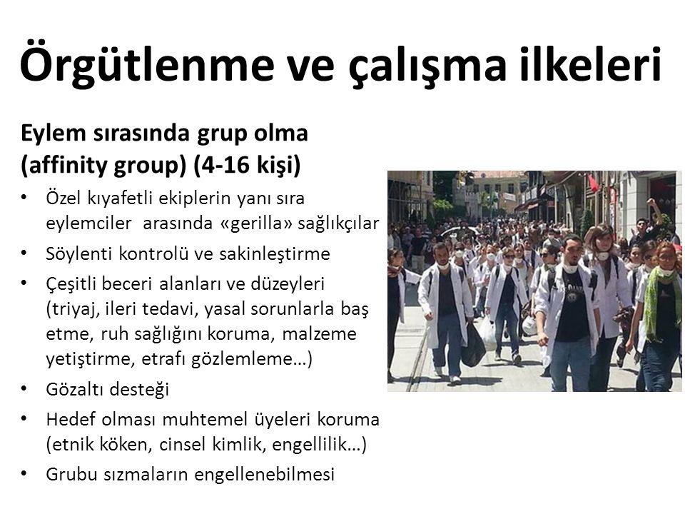 Örgütlenme ve çalışma ilkeleri Eylem sırasında grup olma (affinity group) (4-16 kişi) • Özel kıyafetli ekiplerin yanı sıra eylemciler arasında «gerill