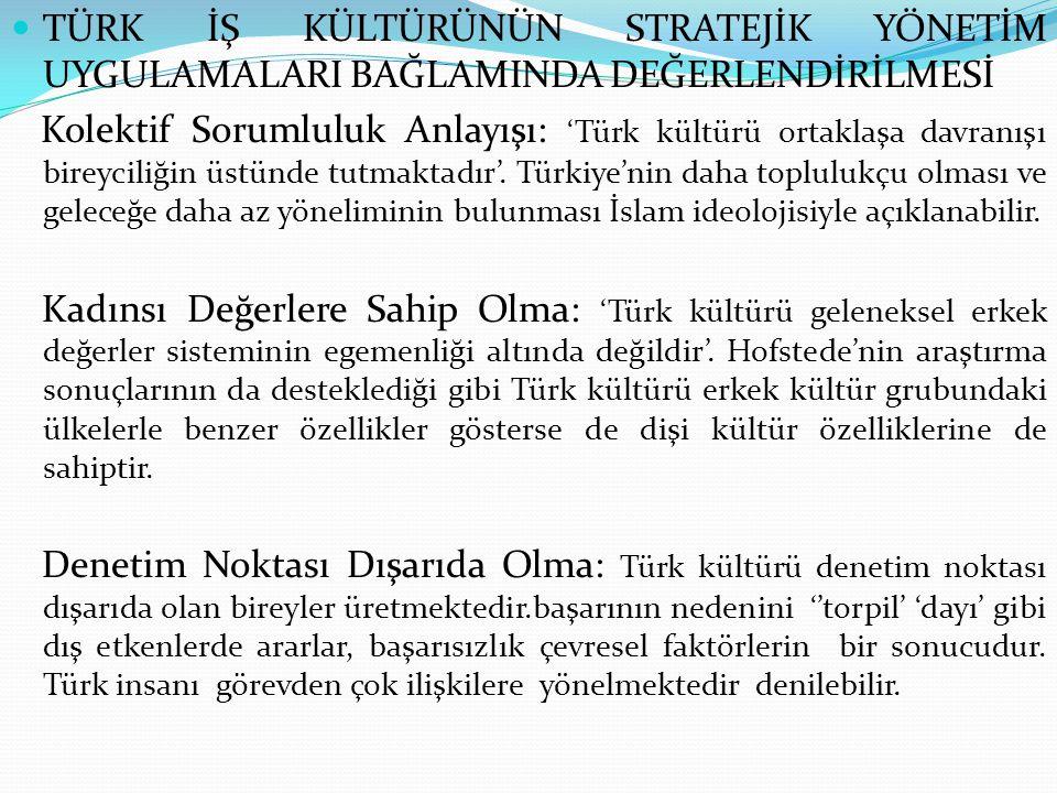  TÜRK İŞ KÜLTÜRÜNÜN STRATEJİK YÖNETİM UYGULAMALARI BAĞLAMINDA DEĞERLENDİRİLMESİ Kolektif Sorumluluk Anlayışı: 'Türk kültürü ortaklaşa davranışı birey