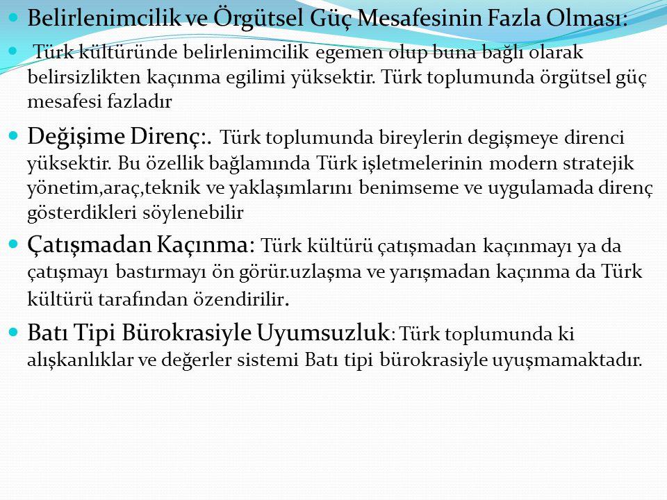  Belirlenimcilik ve Örgütsel Güç Mesafesinin Fazla Olması:  Türk kültüründe belirlenimcilik egemen olup buna bağlı olarak belirsizlikten kaçınma egi