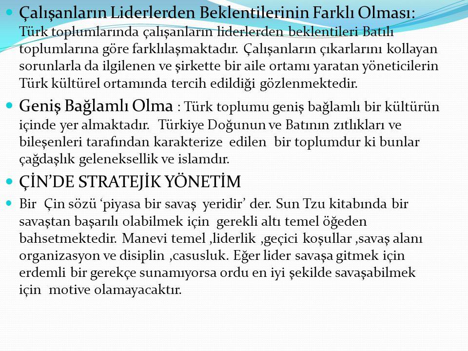  Çalışanların Liderlerden Beklentilerinin Farklı Olması: Türk toplumlarında çalışanların liderlerden beklentileri Batılı toplumlarına göre farklılaşm