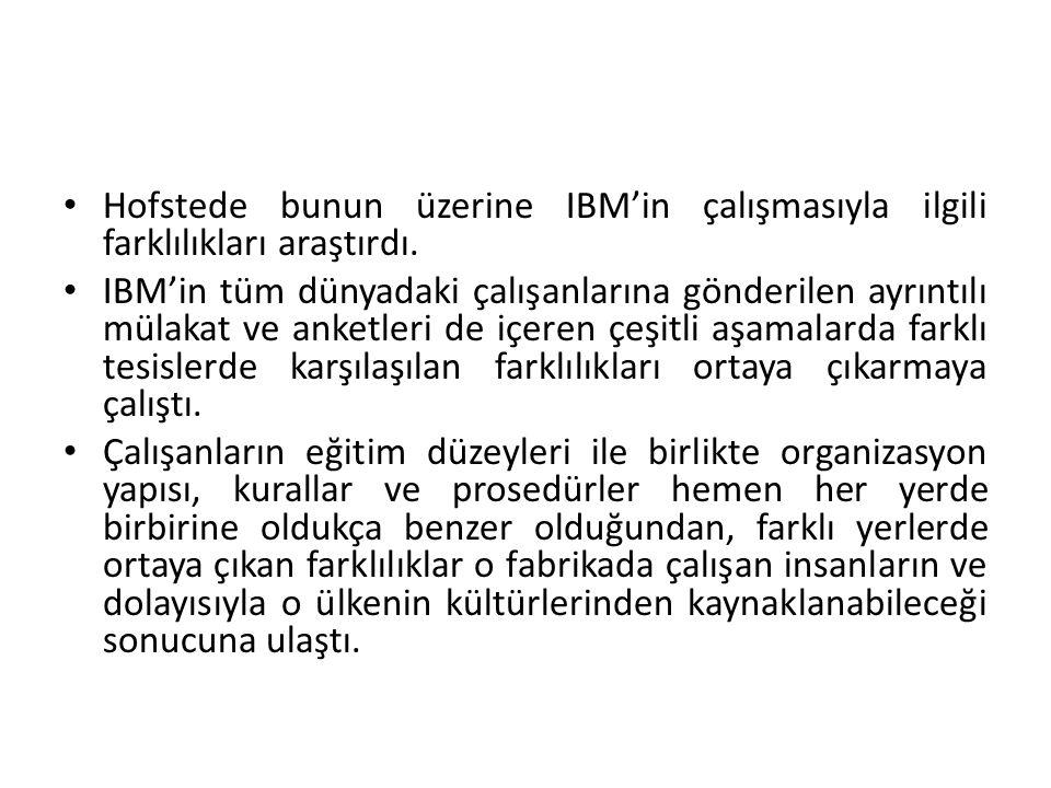 • Hofstede bunun üzerine IBM'in çalışmasıyla ilgili farklılıkları araştırdı.